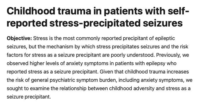 Childhood trauma in patients with self-reported stress-precipitated seizures - Childhood trauma stress and seizures