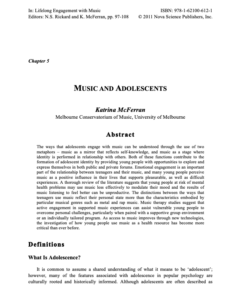 Adolescents and Music - Music and Adolescents
