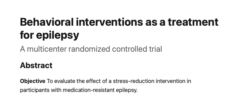 Behavioral interventions as a treatment for epilepsy - Neurology - Behavioural Interventions in Epilepsy
