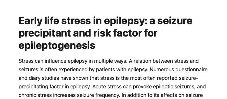 Early life stress in epilepsy: A seizure precipitant and risk factor for epileptogenesis - Early life stress in epilepsy